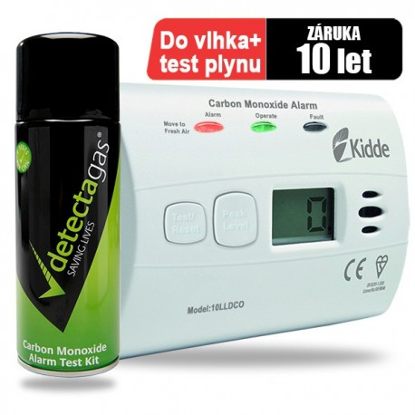 Detektor CO Kidde 10LLDCO a testovací plyn