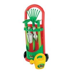Vozík se zahradním nářadím a konvičkou