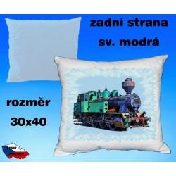 Polštářek s motivem železnice - parní lokomotiva 2