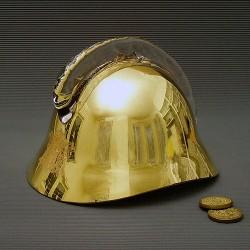 Skleněná hasičská přilba zlatá